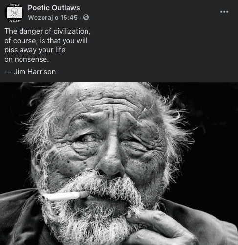 Poetic Outlaws - Jim Harrison; The danger of civilization,  of course, is that you will piss away your life on nonsens.